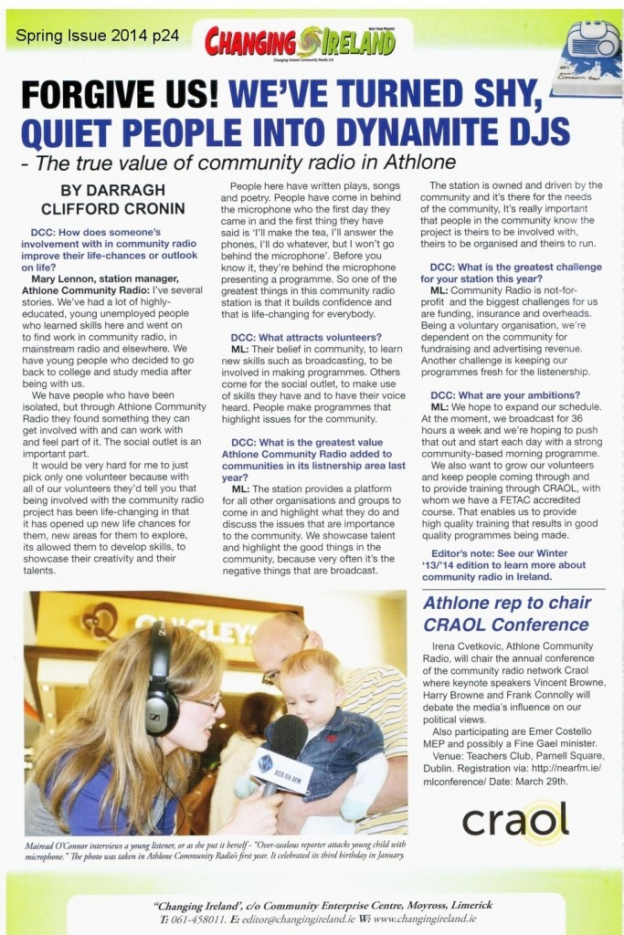 ATHLONE COMMUNITY RADIO PRESS ARTICLE