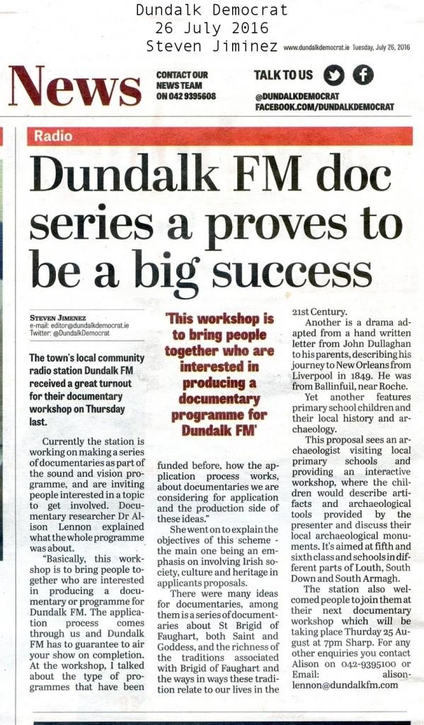 Dundalk FM doc series 20160726