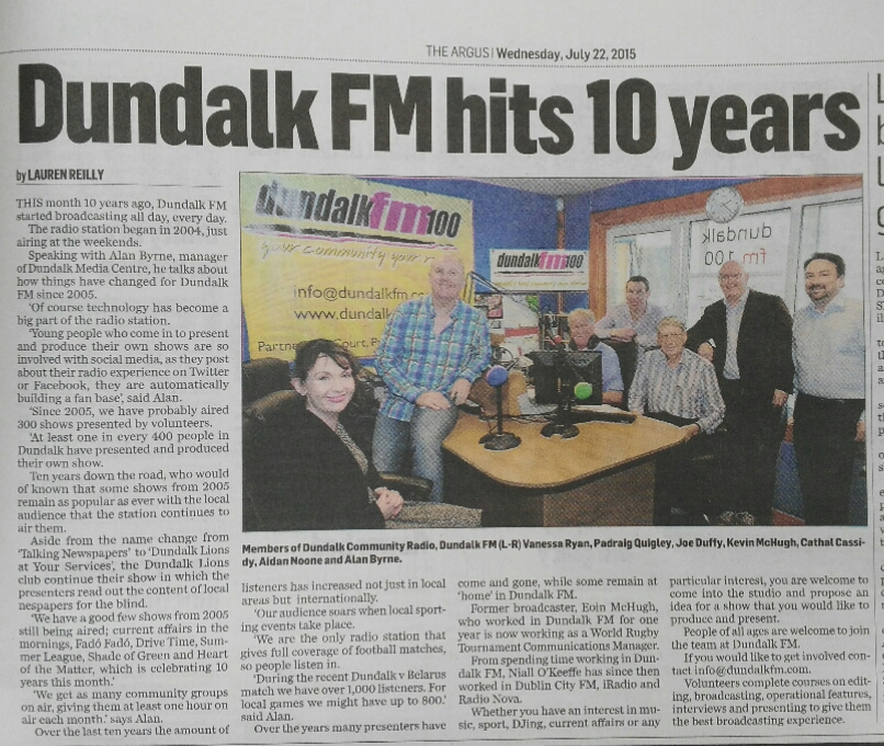Dundalk FM hits 10 years.