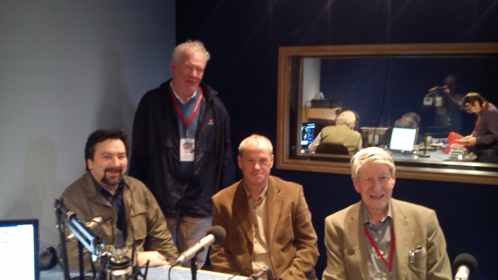 Alan Byrne, Eamon O'Reilly, Gussie Hearty and Cathal Cassidy attending the CRAOL Féile in Community Radio Youghal, May 2014.