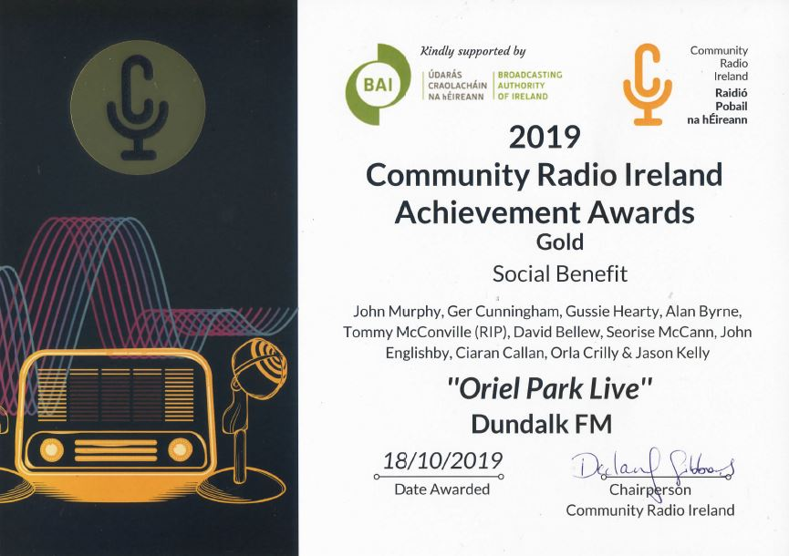 Craol Achievement Award 2019 Oriel Park Live