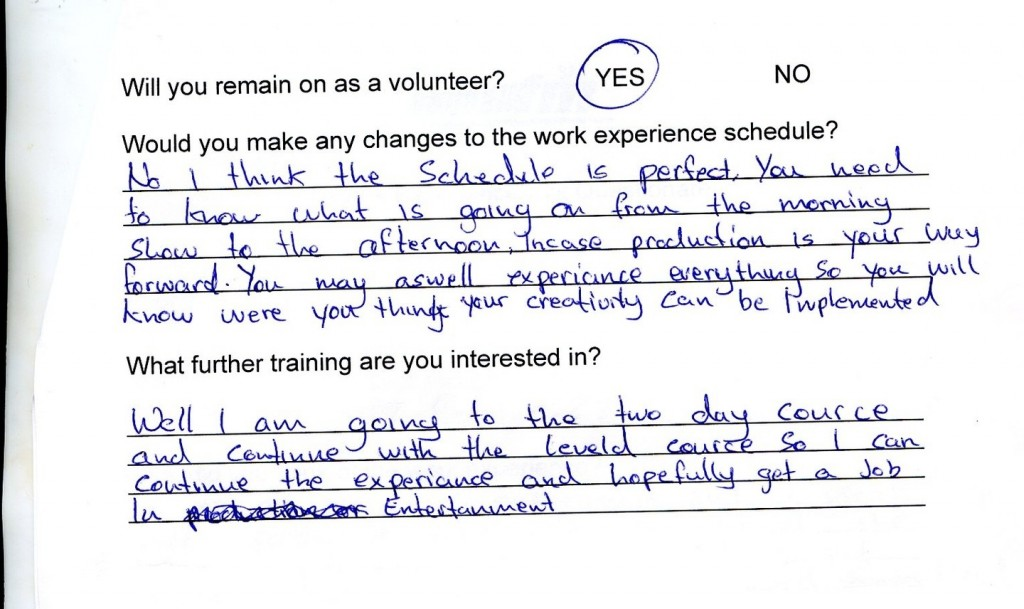 Work Exp Feedback Jo Bankole