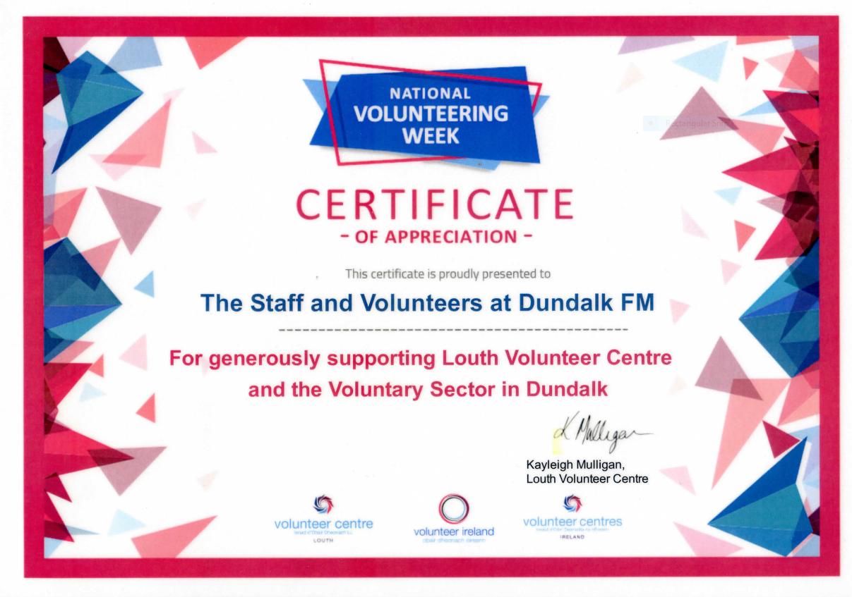 Nat Vol Week Cert for Dundalk FM 2021