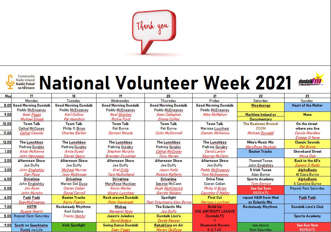National Volunteer Week Dundalk FM 2021